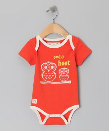 Spicy Orange 'Owl & Hoot' Bodysuit - Infant