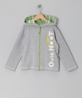 Gray Heather 'Owl & Hoot' Zip-Up Hoodie - Toddler & Boys
