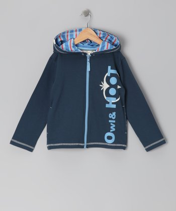 Navy Blue 'Owl & Hoot' Zip-Up Hoodie - Toddler & Boys