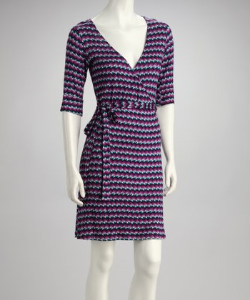 Purple & Black Simone Wrap Dress
