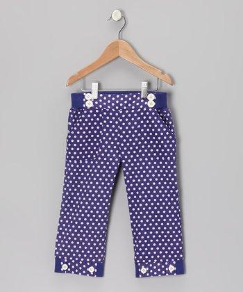 Deep Wisteria Polka Dot Sailor Capri Pants - Toddler & Girls
