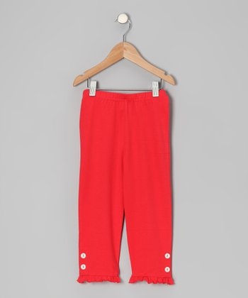 Red Poppy Capri Leggings - Toddler & Girls