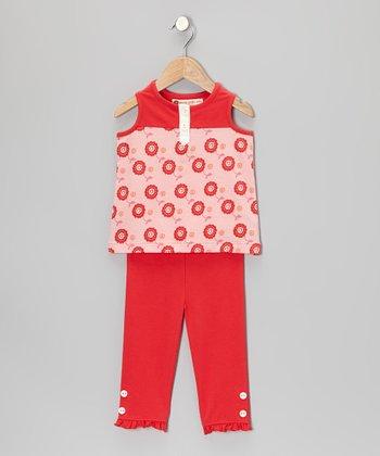 Pink Dot Floral Henley Tunic & Leggings - Toddler & Girls