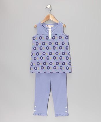 Violet Dot Floral Henley Tunic & Leggings - Toddler & Girls