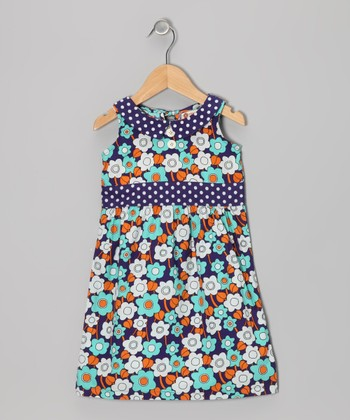 Pool Blue Sixties Floral Dress - Toddler & Girls