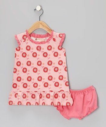 Pink Dot Floral Henley Dress & Diaper Cover - Infant