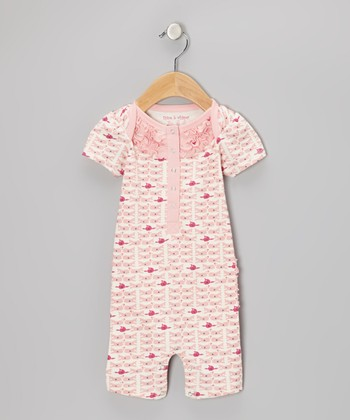 White Gardenia & Light Coral Whale Ruffle Romper - Infant