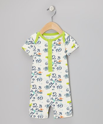 White Gardenia & Blue Numbers Romper - Infant