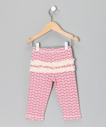 Fuchsia Wave Ruffle Leggings - Infant