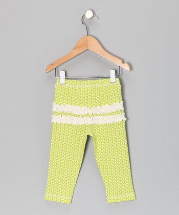 Lime Geometric Ruffle Leggings - Infant