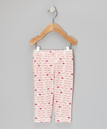White Gardenia & Light Coral Whale Ruffle Leggings - Infant