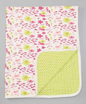 Bubblegum Pink & Lime Sea Life Stroller Blanket
