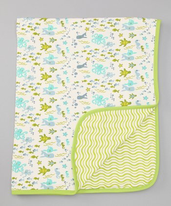 Seafoam & Apple Green Sea Life Stroller Blanket