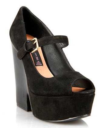 Black Suede Nockout Peep-Toe Mary Jane