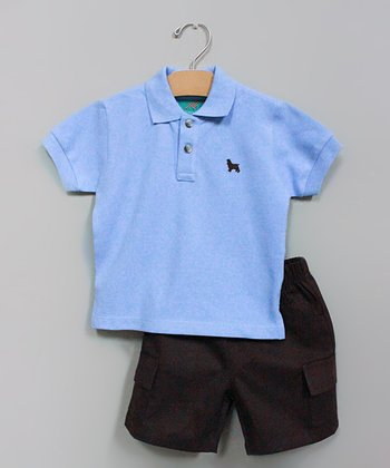 Light Blue Polo & Brown Shorts - Infant, Toddler & Boys