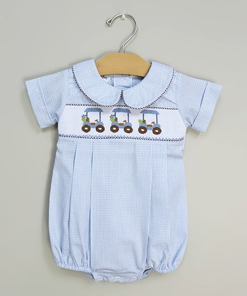 Blue Golf Smocked Bubble Bodysuit - Infant & Toddler