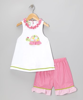 White Turtle Tank & Pink Polka Dot Shorts - Toddler & Girls