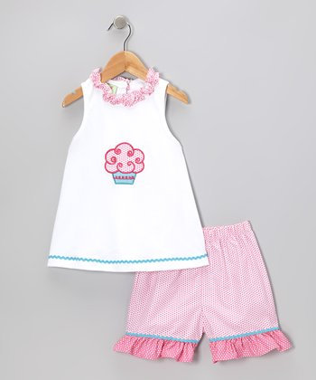 Sweet Teas White Tank & Pink Polka Dot Shorts - Toddler & Girls