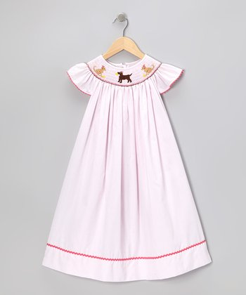 Pink Lab Smocked Angel-Sleeve Dress - Infant, Toddler & Girls