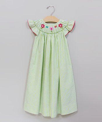Sweet Teas Lime Angel-Sleeve Dress - Toddler & Girls