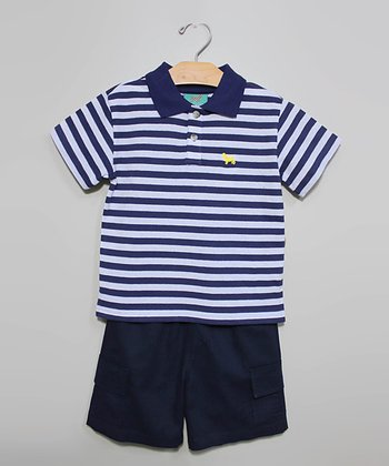 Navy Stripe Polo & Shorts - Infant, Toddler & Boys