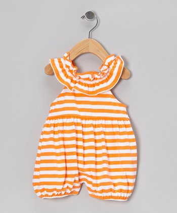 Orange Stripe Bubble Romper - Infant & Toddler