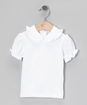 White Puff-Sleeve Collar Top - Infant, Toddler & Girls