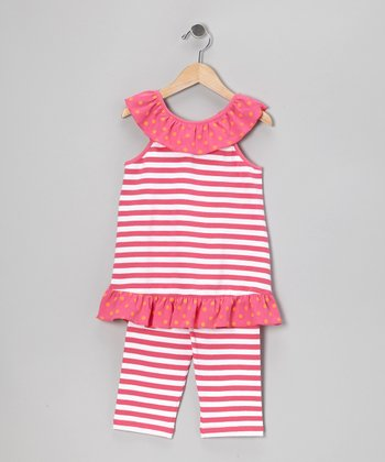Hot Pink Stripe Tank & Capri Pants - Infant, Toddler & Girls
