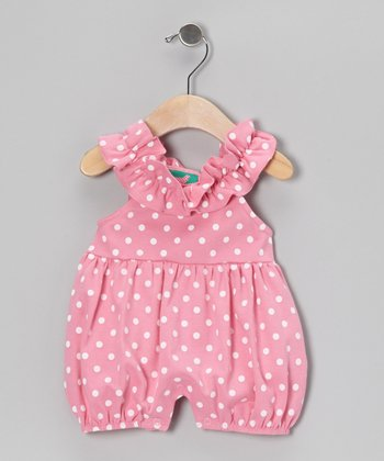 Pink & White Polka Dot Bubble Romper - Infant & Toddler