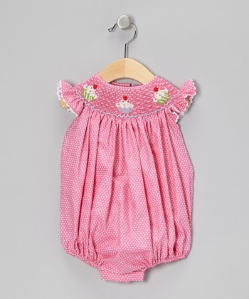 Sweet Teas Pink Smocked Bubble Bodysuit - Infant