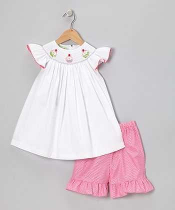 Sweet Teas Pink Smocked Top & Shorts - Toddler & Girls