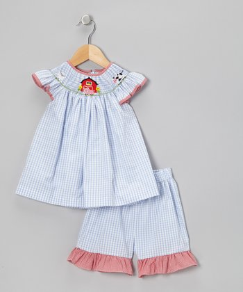 Blue Gingham Smocked Farm Top & Shorts - Toddler & Girls