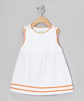 White & Orange Rickrack Top - Infant, Toddler & Girls