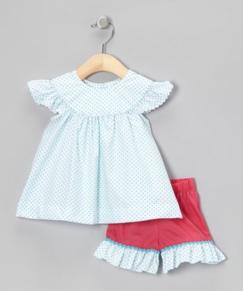 Aqua & Pink Polka Dot Top & Shorts - Infant, Toddler & Girls