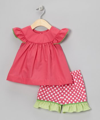 Hot Pink Top & Polka Dot Shorts - Infant, Toddler & Girls