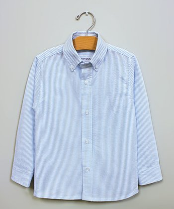 Blue Seersucker Button-Up - Infant, Toddler & Boys