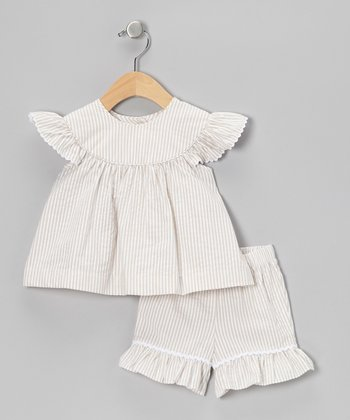 Khaki Stripe Seersucker Top & Shorts - Infant, Toddler & Girls