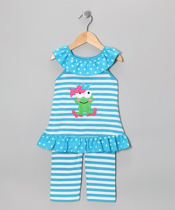 Blue Stripe Frog Ruffle Tank & Capri Pants - Toddler & Girls