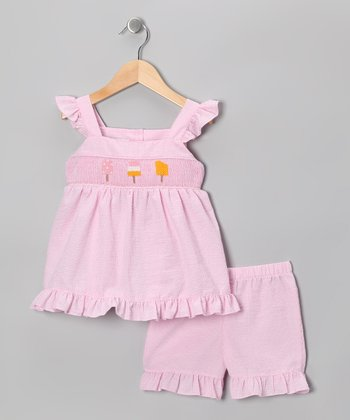 Pink Popsicle Smocked Top & Shorts - Toddler & Girls