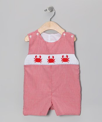 Red Gingham Crab John Johns - Infant & Toddler
