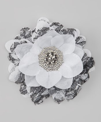 White & Black Lace Vintage Flower Clip