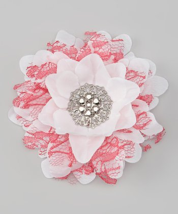 White & Shocking Pink Lace Vintage Flower Clip