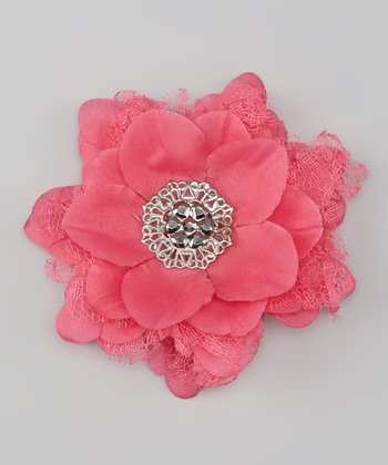 Shocking Pink Lace Vintage Flower Clip