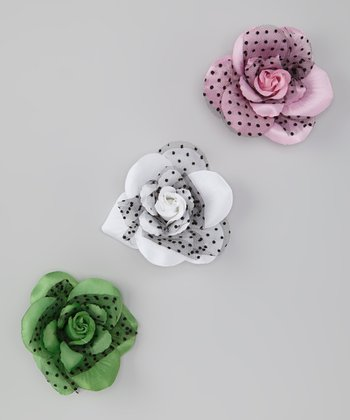 White, Pink & Grass Green Polka Dot Rose Clip Set