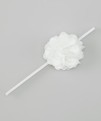White Linen Flower Headband