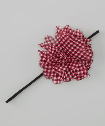 Shocking Pink Gingham Chiffon Flower Headband