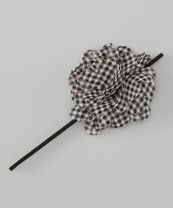 Black Gingham Chiffon Flower Headband