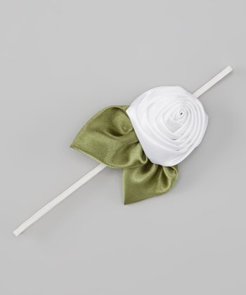 White Satin Rosette Headband