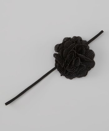 Black Linen Flower Headband