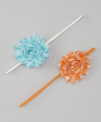Aqua & Orange Gingham Shabby Flower Headband Set